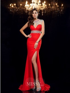 Trumpet/Mermaid Sleeveless Scoop Beading Sweep/Brush Train Chiffon Dresses