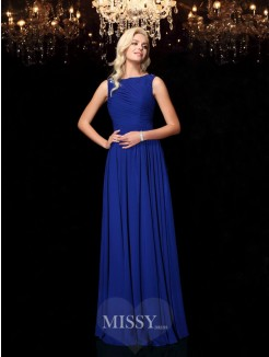 A-Line/Princess Rhinestone Bateau Sleeveless Floor-Length Chiffon Dresses