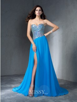 A-Line/Princess Sleeveless Sweetheart Sequin Sweep/Brush Train Chiffon Dresses