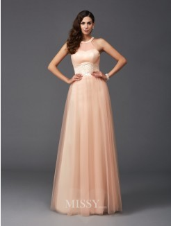 A-Line/Princess Halter Sleeveless Beading Net Floor-Length Dresses
