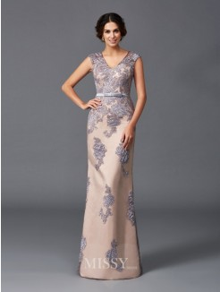 Sheath/Column Applique Sleeveless Straps Floor-Length Satin Dresses