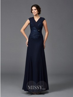 A-Line/Princess Sleeveless Straps Lace Ankle-Length Chiffon Mother of the Bride Dresses