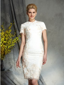 Sheath/Column Jewel Short Sleeves Lace Mini Mother of the Bride Dresses