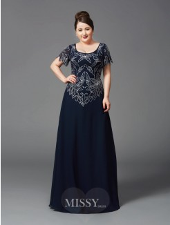 A-Line/Princess Square Short Sleeves Floor-Length Chiffon Plus Size Mother of the Bride Dresses