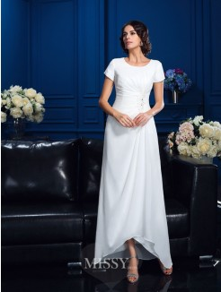 A-Line/Princess Scoop Short Sleeves Asymmetrical Chiffon Mother Of The Bride Dresses