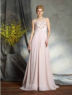 A-Line/Princess Bateau Sleeveless Chiffon Sweep/Brush Train Mother of the Bride Dress