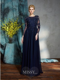 A-Line/Princess Scoop 3/4 Sleeves Applique Floor-Length Chiffon Mother of the Bride Dress