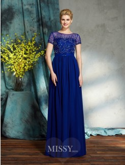 A-Line/Princess Scoop Short Sleeves Beading Chiffon Floor-Length Mother of the Bride Dress