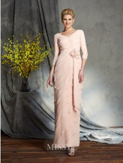 Sheath/Column 3/4 Sleeves V-neck Hand-Made Flower Chiffon Floor-Length Mother of the Bride Dress