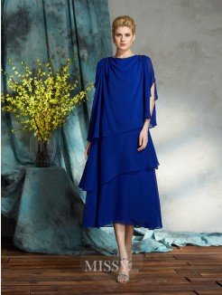 A-Line/Princess Bateau Sleeveless Chiffon Knee-Length Mother of the Bride Dress
