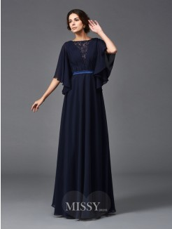 A-Line/Princess Scoop 1/2 Sleeves Beading Floor-Length Chiffon Mother of the Bride Dresses