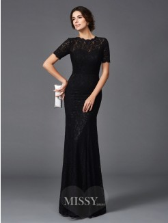 Sheath/Column Lace Short Sleeves Jewel Floor-Length Elastic Woven Satin Mother of the Bride Dresses