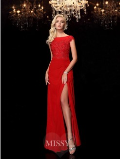 Sheath/Column Applique Bateau Short Sleeves Floor-Length Chiffon Mother of the Bride Dresses