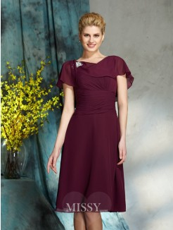 A-Line/Princess Scoop 1/2 Sleeves Chiffon Knee-Length Mother of the Bride Dress