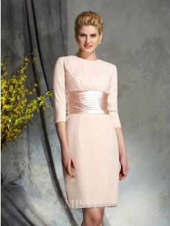 Sheath/Column Scoop 3/4 Sleeves Chiffon Mini Mother of the Bride Dress