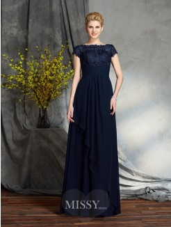 A-Line/Princess Bateau Short Sleeves Floor-Length Applique Chiffon Mother of the Bride Dress
