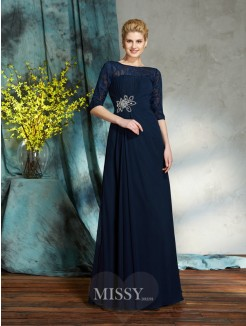 A-Line/Princess Bateau 1/2 Sleeves Beading Floor-Length Chiffon Mother of the Bride Dress