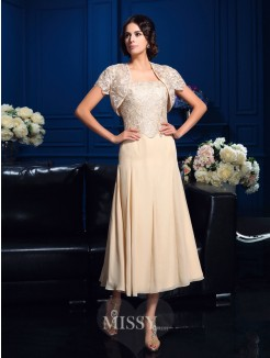 A-Line/Princess Sleeveless Square Knee-Length Chiffon Mother Of The Bride Dresses