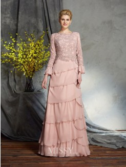 Sheath/Column Scoop Long Sleeves Ruffles Chiffon Floor-Length Mother of the Bride Dresses