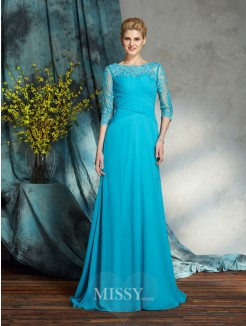 A-Line/Princess Bateau 3/4 Sleeves Applique Chiffon Floor-Length Mother of the Bride Dresses