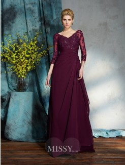 A-Line/Princess 3/4 Sleeves V-neck Floor-Length Chiffon Mother of the Bride Dresses