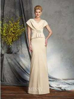 Sheath/Column V-neck Short Sleeves Beading Silk like Satin Floor-Length Mother of the Bride Dresses