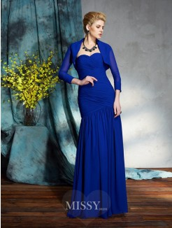 Sheath/Column Sleeveless Sweetheart Floor-Length Chiffon Mother of the Bride Dresses