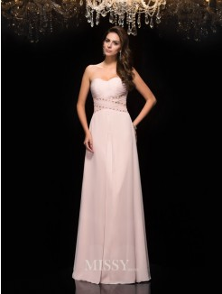A-Line/Princess Sleeveless Sweetheart Chiffon Beading Floor-Length Dresses