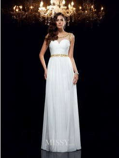 A-Line/Princess Sleeveless Sheer Neck Beading Chiffon Floor-Length Dresses