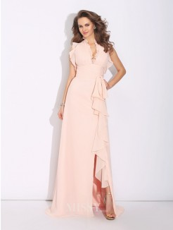 A-Line/Princess High Neck Ruffles Sleeveless Sweep/Brush Train Chiffon Dress