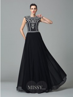 A-Line/Princess Jewel Short Sleeves Beading Floor-Length Chiffon Dresses