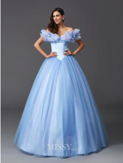Cinderella Ball Gown Off-the-Shoulder Sleeveless Beading Net Floor-Length Dresses