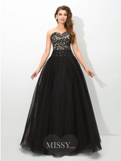 Ball Gown Sleeveless Sweetheart Lace Floor-Length Net Dress