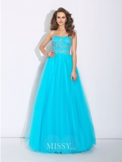 A-Line/Princess Sweetheart Rhinestone Sleeveless Floor-Length Satin Dress
