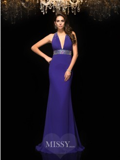 Trumpet/Mermaid Sleeveless V-neck Beading Sweep/Brush Train Chiffon Dresses