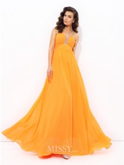 A-Line/Princess Sleeveless V-neck Rhinestone Floor-Length Chiffon Dresses