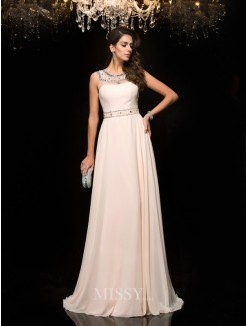 A-Line/Princess Sleeveless Scoop Beading Chiffon Floor-Length Dresses