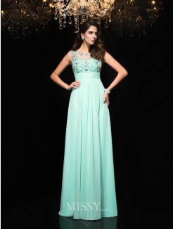 A-Line/Princess Sheer Neck Beading Sleeveless Chiffon Floor-Length Dresses