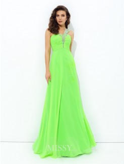 A-Line/Princess Sleeveless One-Shoulder Rhinestone Floor-Length Chiffon Dresses
