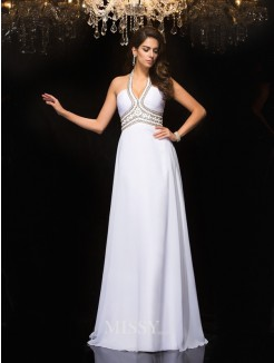 A-Line/Princess Sleeveless Halter Floor-Length Chiffon Dresses