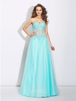 A-Line/Princess Sweetheart Lace Sleeveless Sweep/Brush Train Net Dress
