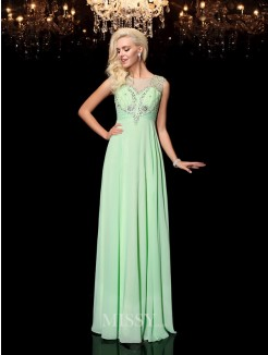 A-line/Princess Sleeveless Floor-Length Scoop Beading Chiffon Dresses