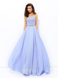 A-Line/Princess Strapless Sleeveless Beading Sweep/Brush Train Chiffon Dresses