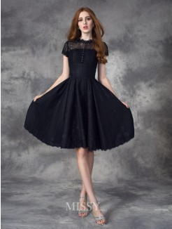 A-line/Princess Jewel Short Sleeves Lace Knee-Length Dress