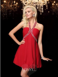 A-line/Princess Halter Beading Sleeveless Mini Chiffon Dresses