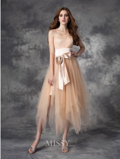 A-line/Princess Strapless Sleeveless Bowknot Ankle-Length Elastic Woven Satin Dress