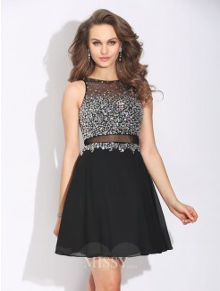A-Line/Princess Sleeveless Jewel Beading Mini Chiffon Dress