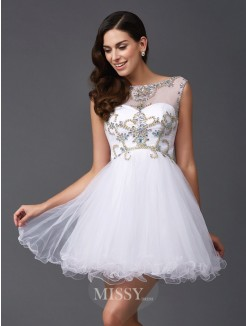 A-Line/Princess Sleeveless Scoop Beading Mini Net Dresses