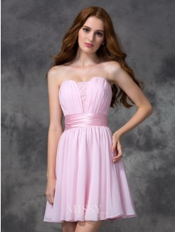 A-line/Princess Sleeveless Sweetheart Ruched Mini Chiffon Dresses