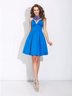 A-Line/Princess High Neck Beading Sleeveless Mini Satin Dress